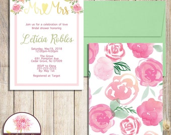 Watercolor Roses Mr & Mrs-Bridal Shower Invitation