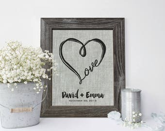 4th  Anniversary gift, print on Linen, Fourth Linen Anniversary gift, 4 years together, Engagement gift for husband or wife