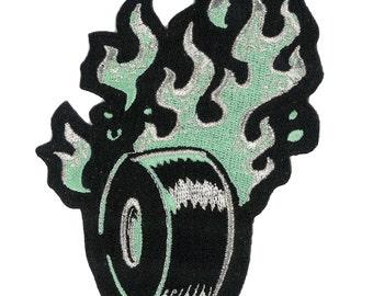Burning Rubber Iron-On Patch - psychobilly retro rocker tattoo art car hotrod rat rod race racer indy nascar funny raceway speedway Mopar