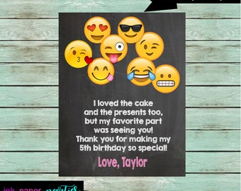 Emoji Emoji Birthday Party Thank You Note Cards ~ We Print and Mail to You