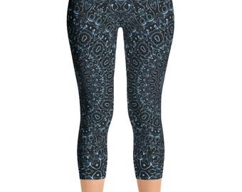 Capris Baby Blue Yoga Pants, Black Leggings with Blue Mandala Designs for Women, Printed Leggings, Pattern Yoga Tights