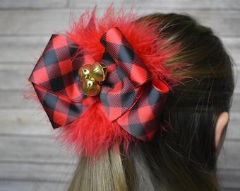 Buffalo plaid hair bow - girls hair bows extra big - extra large hair bows for girls - girls hair bows large - hair bows for girls holiday