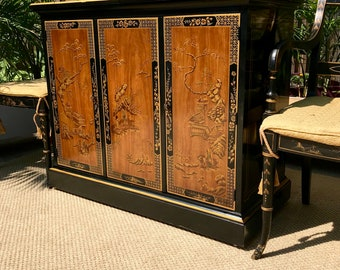 ON HOLD for Julie Local Pickup Hollywood Regency Drexel Heritage Bar Cabinet, Chinoiserie Sideboard, Mid Century Buffet  Oriental Server