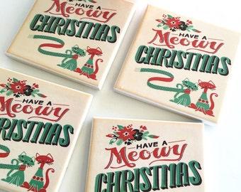 Ceramic Tile Coasters - Meowy Christmas