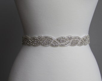 10 in to 36 in beaded rhinestone applique, trim, bridal sash, wedding sash, bridal headband, wedding headband, bridal belt, rhinestone belt