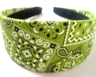 Green Bandana Headband 2 Inch