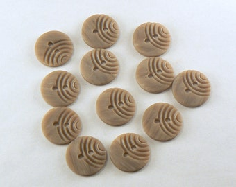 12 - 16 mm Beige Buttons - Plastic Tan Buttons With Carved Curves - Brown Sewing Buttons - Round Craft Buttons - 2 Hole Buttons  #BN-04-13