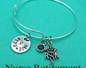 Retirement Gift, Adjustable Bracelet, RN Retirement Gift, Registered Nurse, Nurse Gift, R.N. Gift, Nurse Retirement, R.N. Charm Bracelet