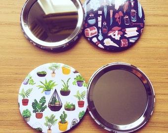 Plant and fantasy pattern pocket mirrors - illustrated handbag mirror