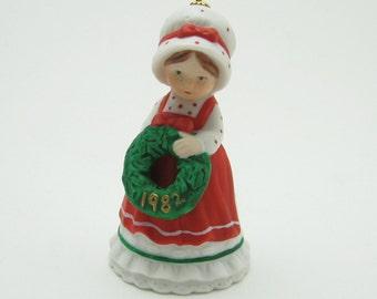 Holly Hobbie Christmas Bell Vintage Porcelain Ornament X