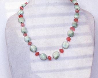 Hemimorphite and cherry quartz necklace