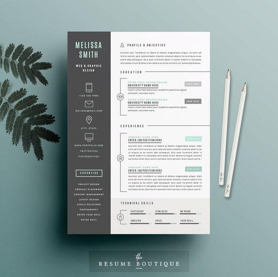 Reanudar la plantilla 4 páginas Plantilla de CV carta de
