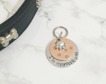 Paw Print Dog Tag - Personalised Dog Tag - Copper Pet ID Tag