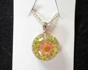 Pink flower terrarium pendant necklace