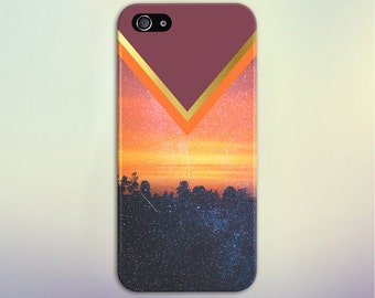 Chevron Sunset x Starry Forest Phone Case, iPhone X, iPhone 8 Plus, Tough iPhone Case, Galaxy s9, Samsung Galaxy Case, Note 8, CASE ESCAPE