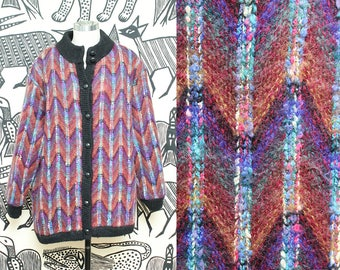 Large Mohair Sweater Jacket // 80s Charles Klein Colorful Red Purple Chevron Striped Coat Oversized Avant Garde XL