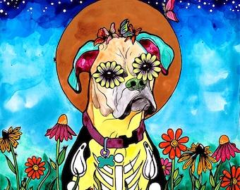 Boxer Dog Lover Gift Pet Portrait Creepy Cute Trending Now Best Selling Art Mexican Decor Trend Day of Dead Custom Pet Portrait RobiniArt