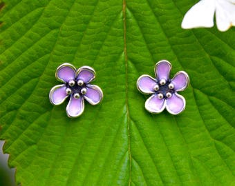 Earrings sterling silver cherry blossom stud earrings flower earrings