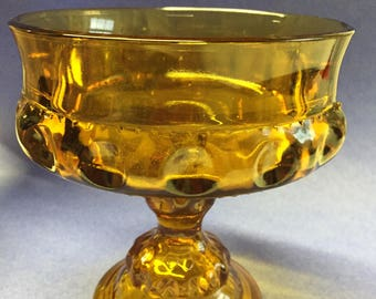 """Vintage Amber Glass Small Fruit Bowl  5 1/4"""" Tall; 4 3/4 inches wide.  Thumbprint pattern"""
