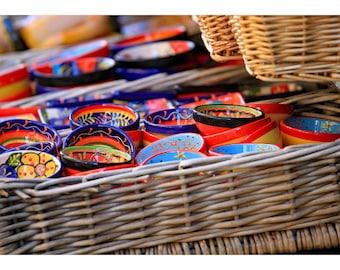 colourful, bowls, baskets, Segovia, Spain, Spanish pottery, fine art photography, Spain home decor, kitchen wall decor, travel photography