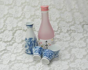 Japanese Sake Pourer & 3 Cups, bamboo design, porcelain white and blue, optional additional set - pourer and 2 cups