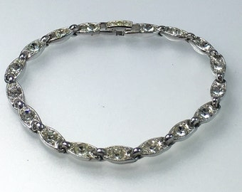 Vintage Silver Tone Clear Rhinestone 7 Link Bracelet