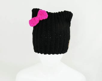 Black Cat Hat – Beanie with Pink Bow option, Women and Teen Beanie, Cat Lover Gift, Handmade Hat
