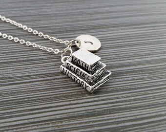 Silver Book Necklace - School Book Charm Necklace - Personalized Necklace - Custom Gift - Initial Necklace - Student Gift - Tutor Gift