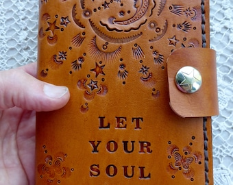 moon journal, let your soul shine journal, designer series journal, leather refillable journal,hand stitched journal,butterflies and flowers
