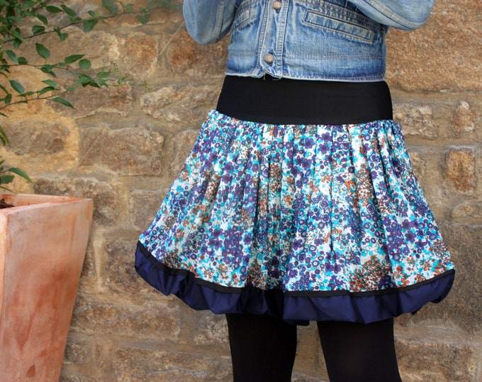 Featured listing image: Ball with flowers blue-Turquoise-Orange skirt, cotton voile. Balloon skirt woman blue skirt