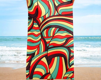 African Style No16, African waves, Beach Towel