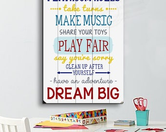 Playroom Rules Sign Planked Wood Sign Playroom Wood Sign Playroom Rules Wall Art Playroom Decor Playroom Sign Playroom Wall Decor for Kids