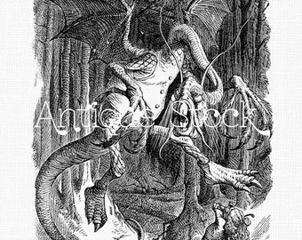 Jabberwocky - Through the Looking-Glass, and What Alice Found There - Digital Download for Coloring, Collages, Crafts, Cards..