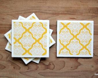 Tile Coaster - Coasters for Drinks - Coasters Tile - Yellow Coasters - Handmade Coasters - Coasters - Drink Coasters - Tile Coasters
