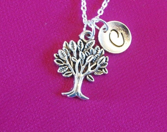 Tree of Life Necklace, Silver Woods Charm, Family Tree Jewelry, with initial letter gift for Forestry Officer women her long short chain 925