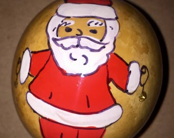 Santa Hand-Painted Gourd Christmas Ornaments by Sandy Short    handpaintedgourds.com