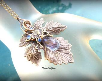 Woodland  pendant, Organic Wire Wrapped Jewelry,Leaf pendant