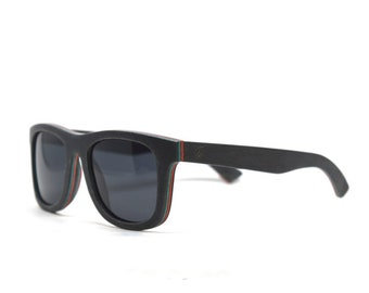 Gray Skateboard Sunglasses Skate Wood Sunglasses Wayfarer Accessories Eco Friendly Charity Wood Mens Sunglasses Womens Sunglasses Do Good