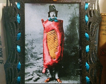 Bacon Man Recolored 5x7 Vintage Photo Painted Glitter Frame