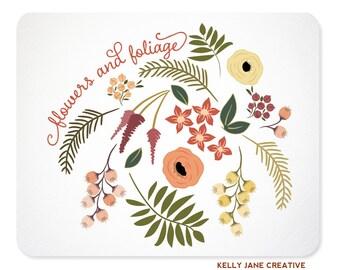Peach Flowers and Greenery Clip Art | Botanical Autumn Flowers | Wedding Graphics