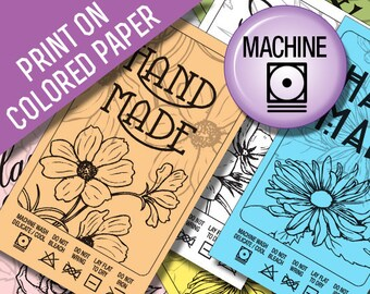 Laundry Tag Printables: Machine Wash Black Line Art to Print on Colored Paper