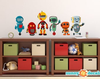 Robot Fabric Wall Decals, Set of 6 Cute Robots, Repositionable and Reusable, 3 Different Sizes to Choose From by Sunny Decals