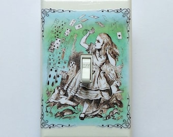 Multi-color fancy framed designs- Alice in Wonderland switchplates and MATCHING SCREWS- Alice in Wonderland nursery print Wonderland bedroom