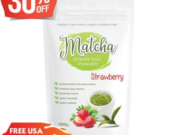 Japanese Strawberry Matcha (100g) Rich in Antioxidants, Supports Weight Loss & Boosts Energy- Natural Flavor, No Sugar-FREE USA Shipping