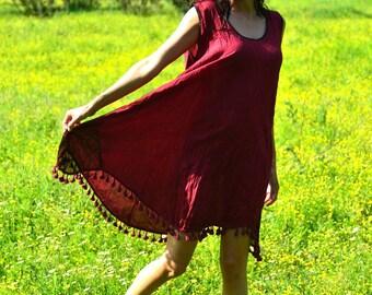 Red tunic, Women's loose top, Sleeveless Tunic, boho tunic, Tunics For Women, Ethnic Tunics,  Ethnic dress, Summer Tunic Tops, Tunic Dress