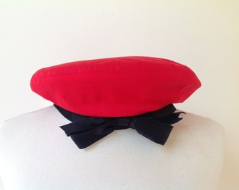 Rare Vintage CHANEL Red Beret With Black Bow
