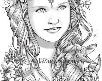 Princess Ember, Hummingbirds, Adult Coloring Pages, Grayscale, Colouring for Grown Ups, Instant Download, Printable Coloring Pages