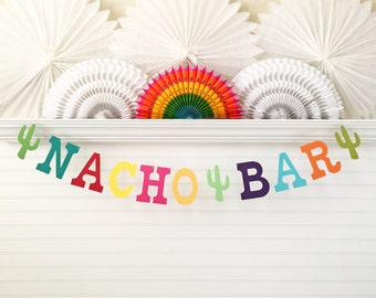Nacho Bar Banner - 5 inch Letters - Fiesta Birthday Banner Cinco De Mayo Nacho Bar Sign Colorful Fiesta Party Decorations Nacho Party Decor