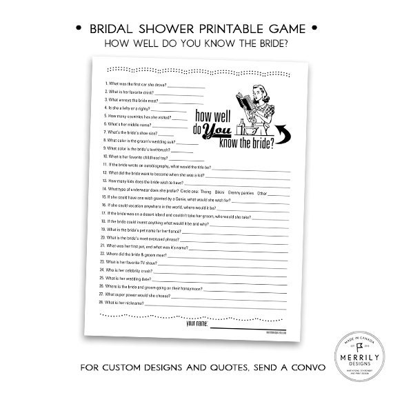How Well Do You Know The Bride Printable Bridal Shower