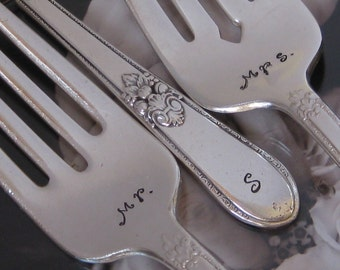 Vintage Upcycled Mr & Mrs Wedding/Anniversary Silverplate Handstamped Cake Fork Set -Adoration Pattern